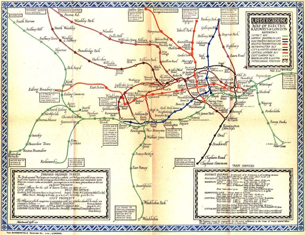 1921 LONDON TUBE MAP